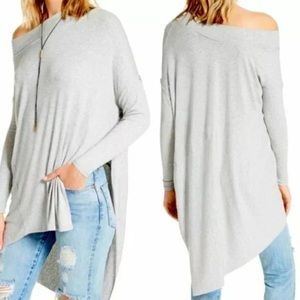 Free People Boho Grapevine Gray Long Sleeves Boat Neck Pull Over Tunic  Small